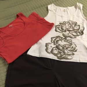 Ann Taylor Long Shorts with Two Tanks Included